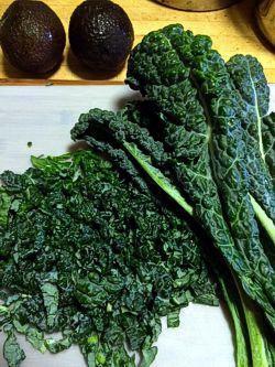 Basic Kale Salad made with Lacinato (Dinosaur) or Curly kale, avocado, lemon and salt.