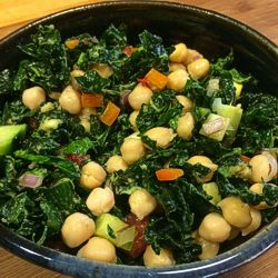 Basic Kale Salad with an additional veggie bonanza and garbanzo beans.