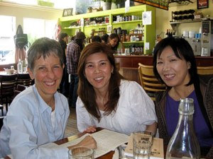 Raw Foods Chef Brenda Hinton with Makiko and Masae, at Cafe Gratitude, Harrison St. San Francisco.