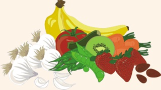 raw fruits and raw veggies -- illustrations copyright © 2015 Ellie DeSilva