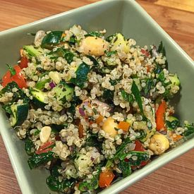 Rawsome Quinoa Tabbouleh Recipe: Adding quinoa, my favorite grain replacement (it is actually a seed), in place of bulgur is a great tasty alternative.