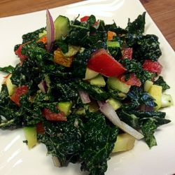 Basic Kale Salad with an additional veggie bonanza.