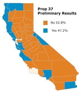 Prop 37 county-by-county results in California