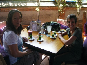 Enjoying wheatgrass and Jamu juice at Bali Buda in Bali