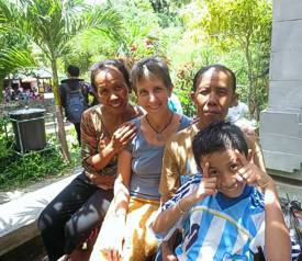 Holy Hot Spring with Iluh Putu, her mother and son (Fitto). Photo by Brenda Hinton, Bali, November 2013
