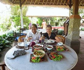 Happy chefs with our lunch extravaganza. Lunch after cooking class. Photo by Brenda Hinton, Bali, November 2013