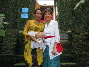 Brenda going to temple with Made in Bali, Indonesia
