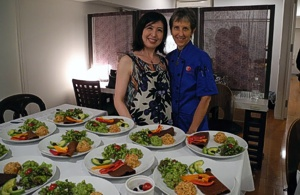 Brenda with Eri at the Mexican Dinner, Tokyo, Japan, September 2012