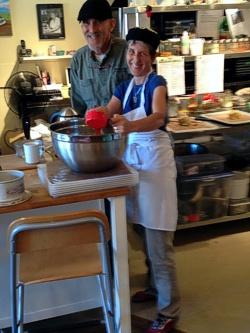 Brenda Hinton working alongside Chef and good friend Jim Maurice at his Rawsome Living Foods Café, Salt Spring Island BC