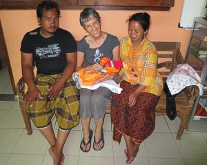 Brenda Hinton with a brand new babe and tired parents at Bumi Sehat Birthing Center in Bali