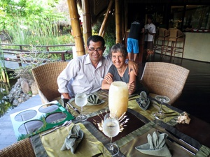 Brenda Hinton with Chef Made at Fivelements in Bali