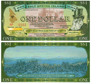 Salt Spring Island One Dollar Bill -- click for the website