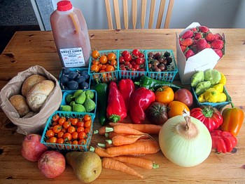 October farmers market haul by Sienna, one of my websters (a choicetarian) -- photo by Sienna M Potts