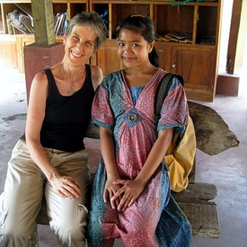 Brenda Hinton with a friend at Widya Guna Orphanage, October 2012