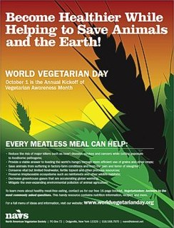 World Vegetarian Day, October 1, is the annual kick-off of Vegetarian Awareness Month.